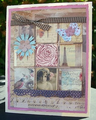 """Want to use this """"grid"""" idea for journaling our travels---need to start collecting now ---bits and pieces of french writing, stamps, etc...Cards Inchies, Challenges Cards, Scrapbook Stuff, Start Collection, French Writing, Travels Ne"""