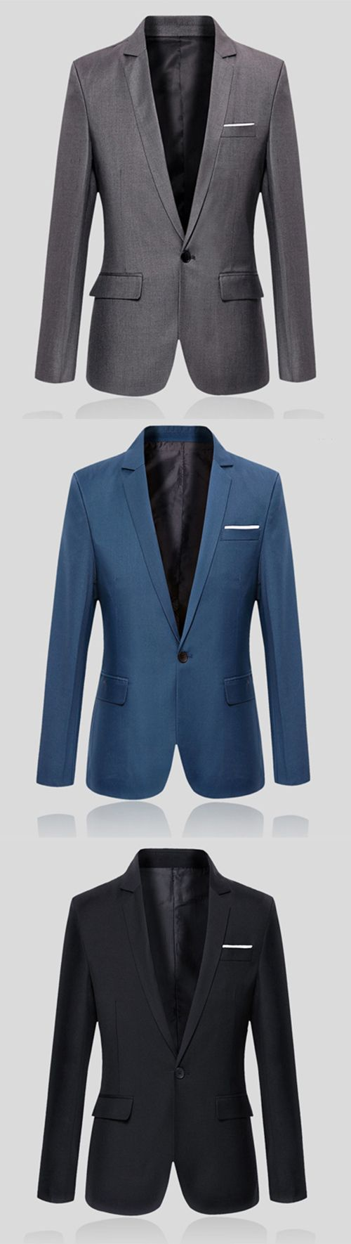 Men's Work Simple Spring Fall Blazer,Solid Long Sleeve Regular Cotton Blazer