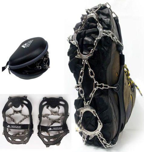 "GOCAM Highstrength steel Bottom13Point Chain Spike Shoe Crampons HardCase""M-Gray"
