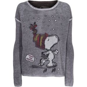 PRINCESS GOES HOLLYWOOD Snow Snoopy Grey Cashmere sweater with print