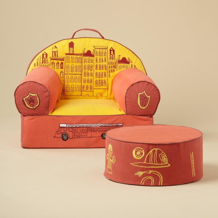 This is an adorable chair from Land of Nod.  Perfect compliment for a fire truck theme boy's room.  http://www.landofnod.com/fire-department-nod-chair-and-noddoman-ottoman/f8621