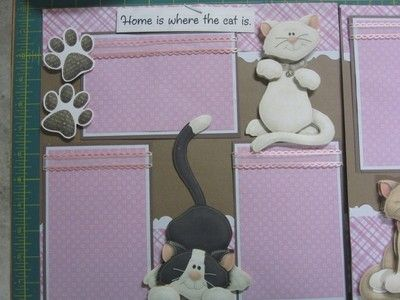 """Home Is Where The Cat Is"" 2 Page Premade Scrapbook Pages 
