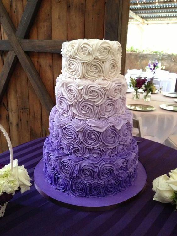 3 layer ombre purple wedding cake