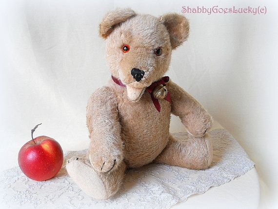Old teddy bear 1950s English or German made of by ShabbyGoesLucky