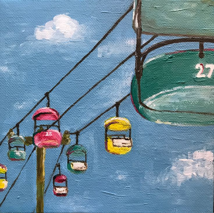 """ORIGINAL Acrylic Painting """"Sky Ride"""", 6x6 inches"""