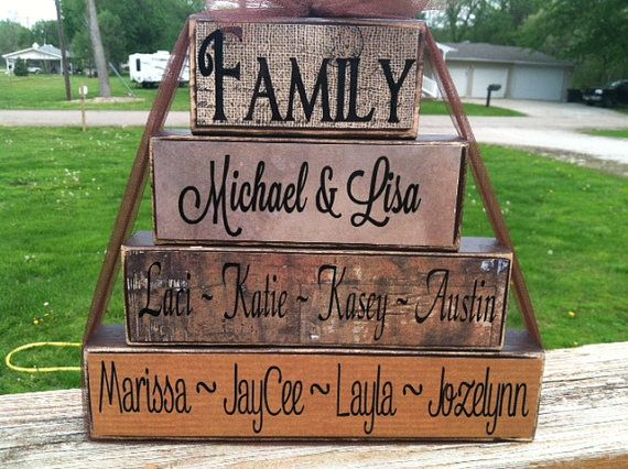 4 tier wood block set family parents kids special saying housewarming blended family wedding date personalized on Etsy, $23.95