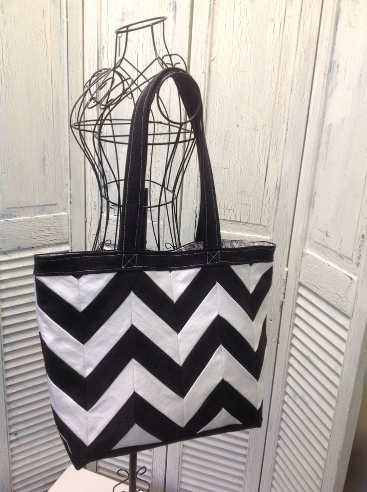Bleu Redux Upcycle Black & White Chevron Denim Tote (AC20) by GrandmaRietas…