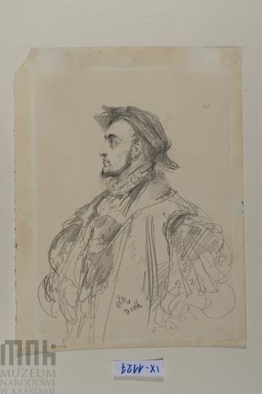 Szkic postaci - Studium postaci króla Zygmunta Augusta widocznego do pasa.