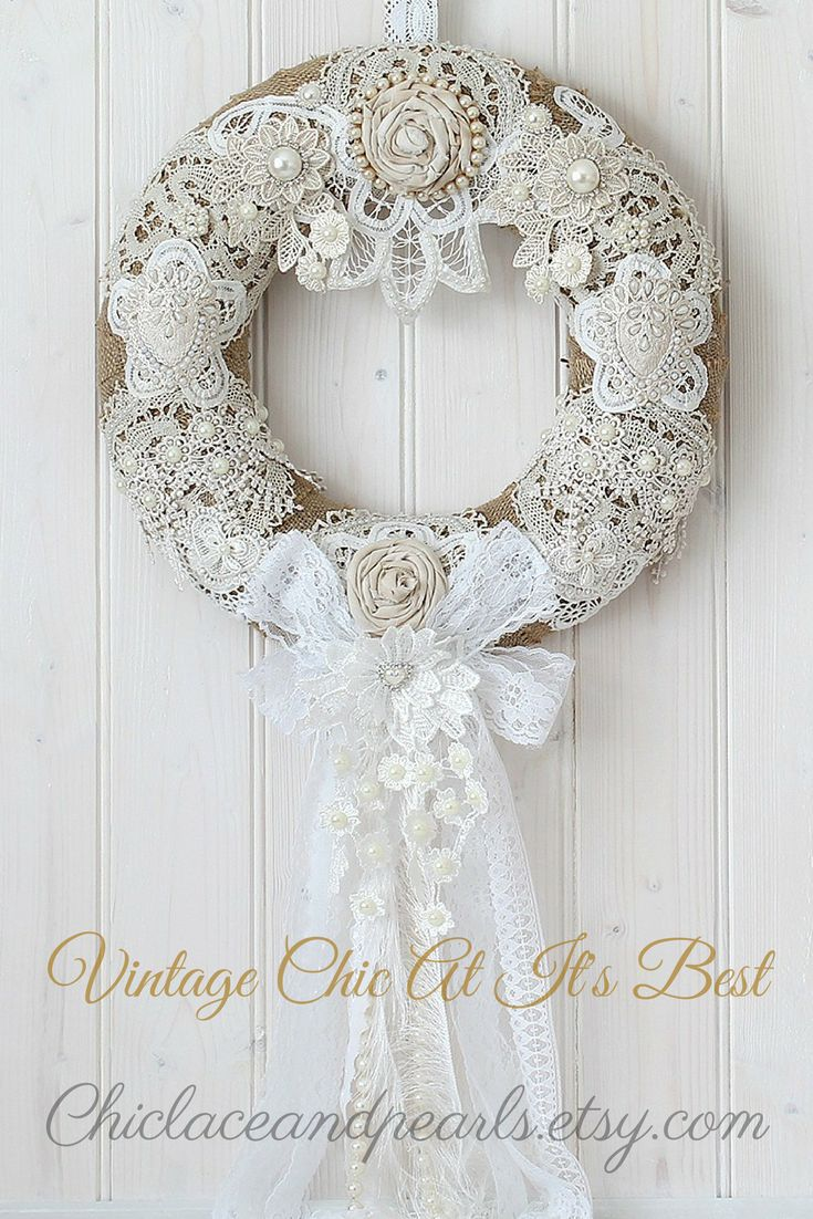 A beautiful Shabby Chic Wreath perfect for any Home Decor. This wreath would also be stunning as a Wedding Wreath. Beautiful Romantic Home Decor. Available in my store today. Click To Visit My Etsy Shop For More Beautiful Items. #shabbychic #homedecor #wreath #vintagestyle #weddingideas