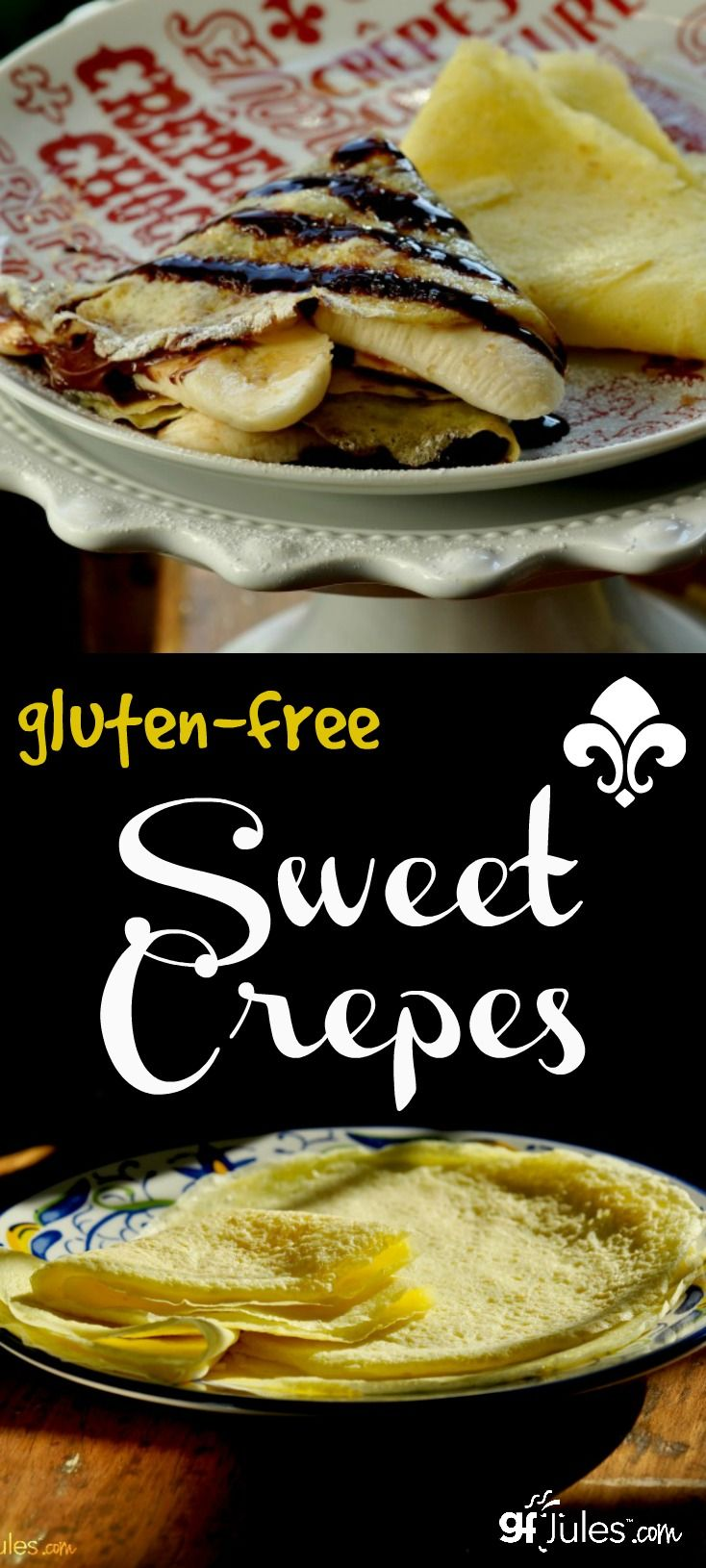 Sweet gluten-free crepes ... is there anything better? So light and airy and they go with any filling you like. Much easier and faster to make than you might imagine with this easy recipe! gfJules