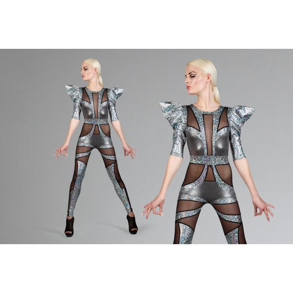 Space Alien Catsuit Futuristic Silver Jumpsuit Burning Man Clothing... ($1,800) ❤ liked on Polyvore featuring jumpsuits, grey, jumpsuits & rompers, women's clothing, grey romper jumpsuits, playsuit romper, romper jumpsuit, metallic romper and metallic jumpsuit