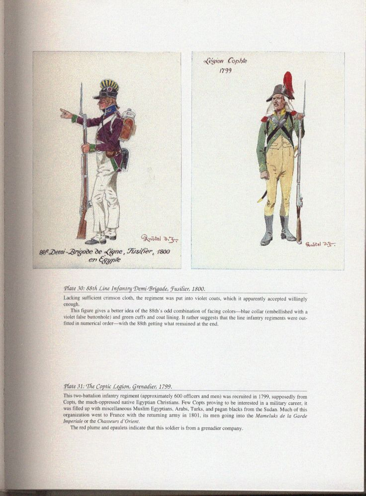 Army of Egypt: Plate 30: 88th Line Infantry Demi-Brigade, Fusilier, 1800. + Plate 31: The Coptic Legion, Grenadier, 1799.