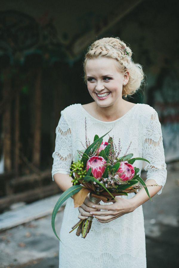 protea wedding bouquet // photo by Shane Shepherd, flowers by Elyssium Blooms // http://ruffledblog.com/byron-bay-farm-wedding