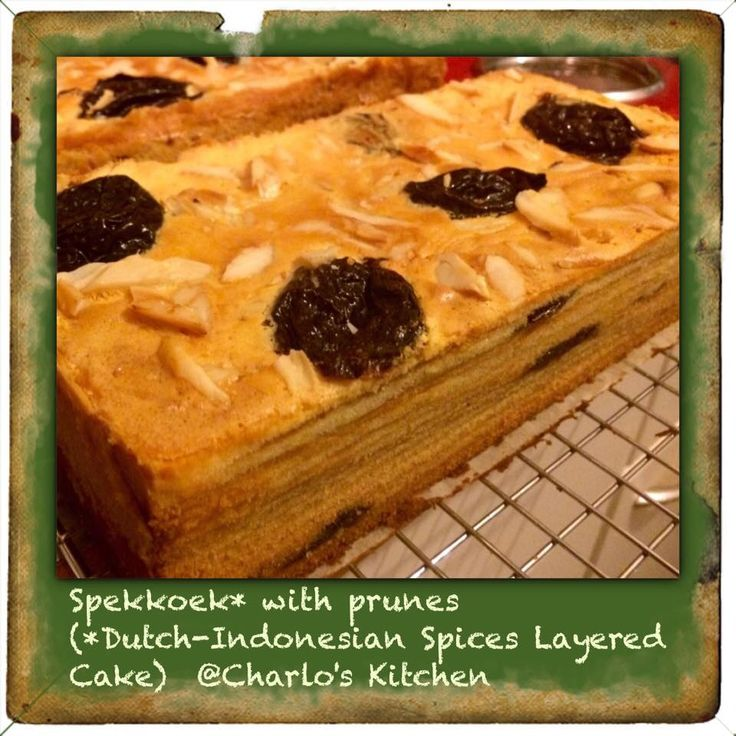 Spices layered cake with prune and canarium nuts