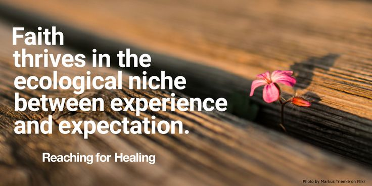 """Faith thrives in the ecological niche between experience and expectation."" Key quote from my book ""Reaching for Healing""."