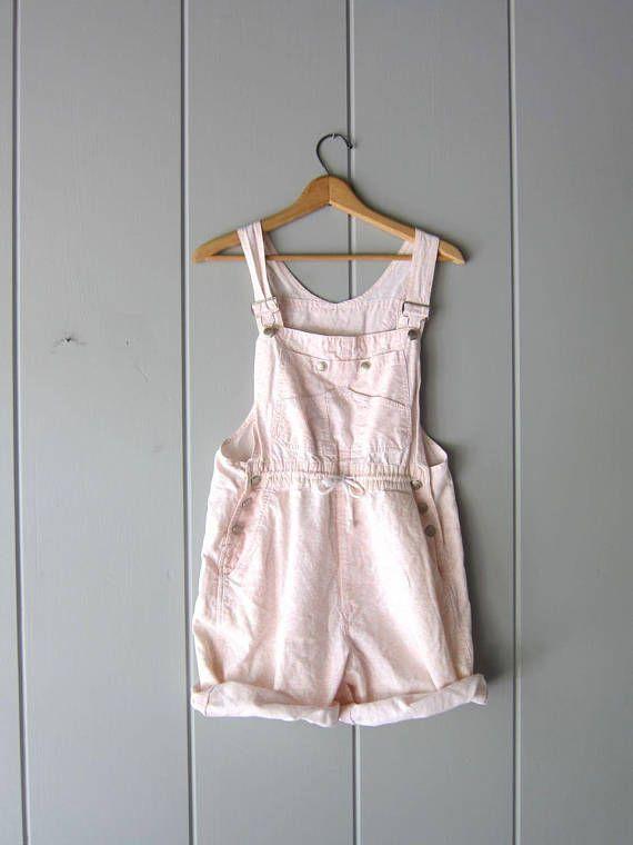 Vintage Pink White Cotton Bib Overalls Bib Shorts Dungarees