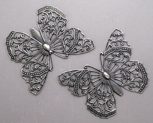 3211 Large Antiqued SS P Open Filigree Butterfly 2 PC Lot | eBay