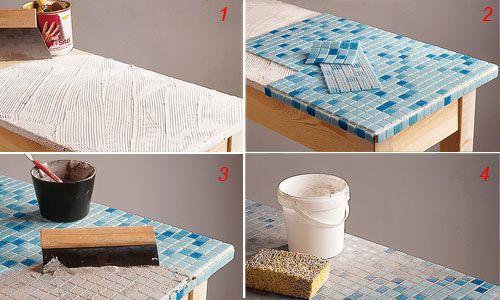 Tavolo con rivestimento a mosaico - Pittura e decorazione - CASA. Brico.