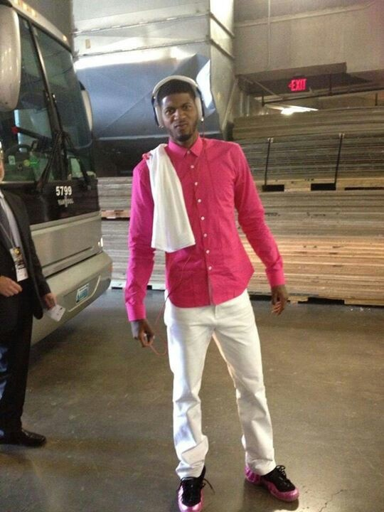 Paul George with a Pink Shirt & matching 'Polarizing Pink' Foamposites