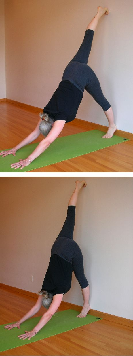 """Get a Leg Up on Downward Dog - Five-Minute Yoga - """"one of the best ways to bring even more ease into your dog pose is, paradoxically, to make it harder. Try this variation, and when you return to Adho Mukha Svanasana (downward dog pose), you may feel a new sense of ease."""""""