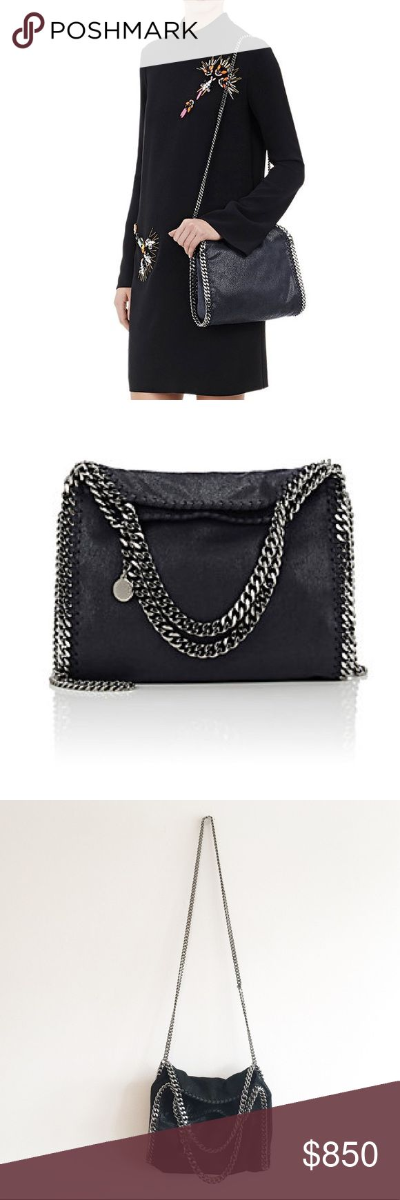 "Stella McCartney Mini Baby Bella (Falabella) Great condition  Whipstitched trim accented with metal chain. Polished gunmetal-tone hardware. Lined with logo-jacquard fabric. Faux-leather-trimmed zip pocket at interior. Curb-chain handles and strap. Magnetic snap closure. 7.0"" height x 10.5"" width x 4.0"" depth (approximately). 4.5"" handle drop, 19.5"" strap drop (approximately). Vegetarian-friendly faux suede. Made in Italy. Stella McCartney Bags"