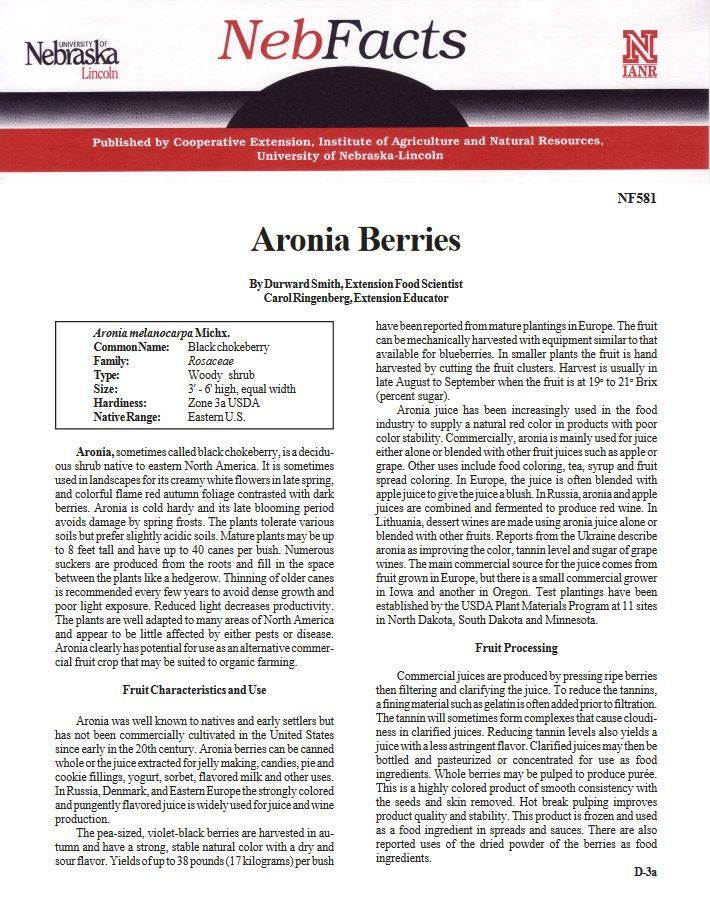 Information about Aronia Berries from #NebExt