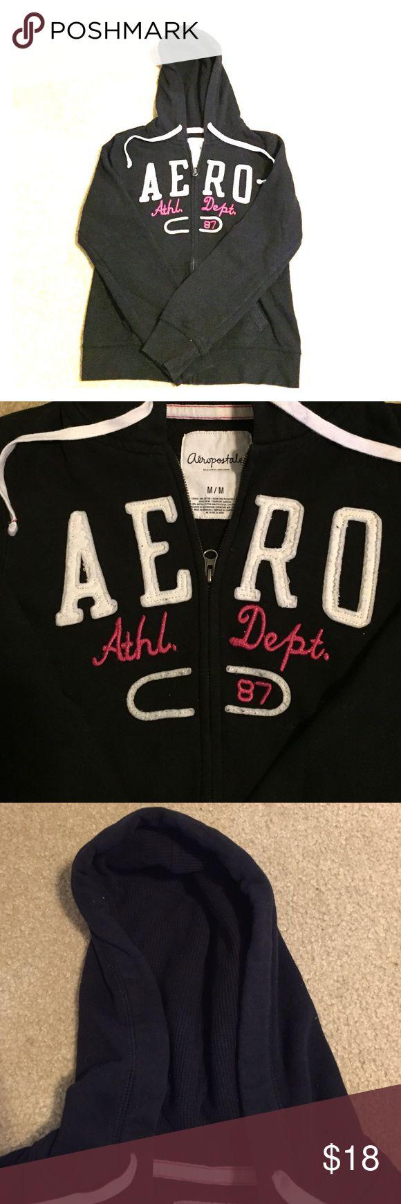 Cute black zip up hoodie,soft and warm Cute Aeropostale black zip up hoodie Aeropostale Tops Sweatshirts & Hoodies