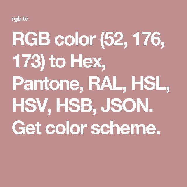 rgb color to hex pantone ral hsl hsv hsb json get color scheme