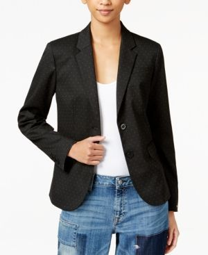 Tommy Hilfiger Pick-Stitched Double-Button Blazer, Only at Macy's - Black 2