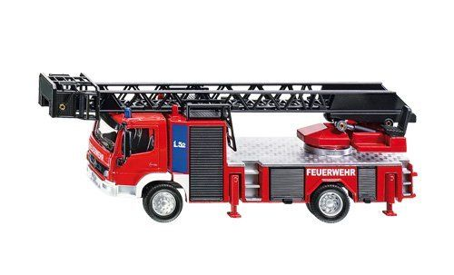 "1/50 Siku 2106 Larger Mercedes-Benz Fire Engine with Extendable Ladder 7.5"" long by Siku. $57.99. This fire engine is about 7.5 inches long.. Model scale: 1:50.. Ladder extends, fire engine has opening storage and four extending hydralic feet.. Die cast Fire Engine with rotating Turntable, part of the SIKU super series collection.. Ages 3 years and up.. Fire service turntable ladder from the SIKU SUPER range. This fire service turntable ladder, scale 1:50, on a Mercedes A..."