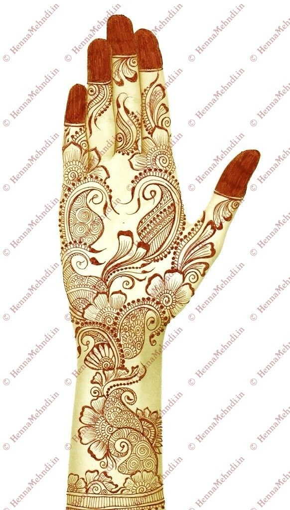 Arabic mehndi design can be applied during party times. This attractive arabic mehndi design is drawn with floral paisleys with dotted zardosi borders.