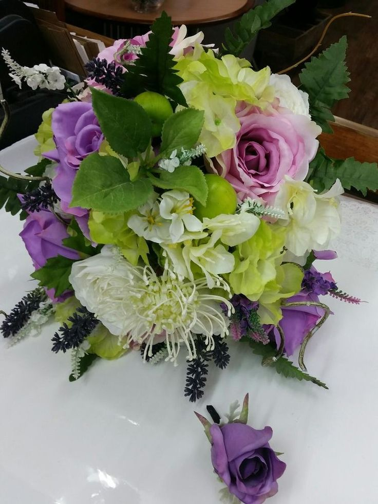LILAC ,LIME GREEN IVORY GARDEN MIX ARTIFICIAL BOUQUET AND BUTTONHOLE