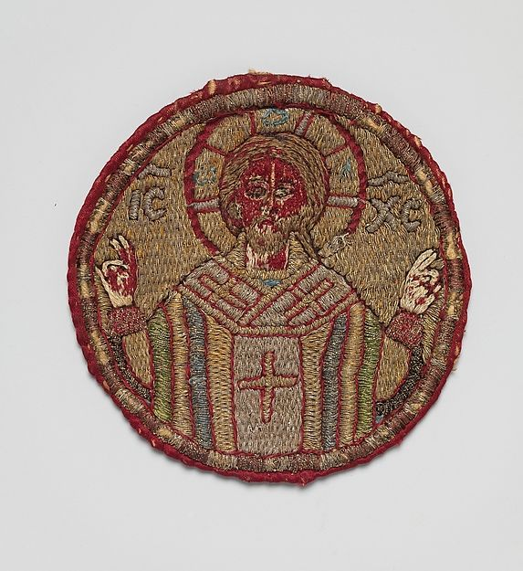 Appliqué from a Vestment SILK WITH SILVER WRAPPED SILK THREAD