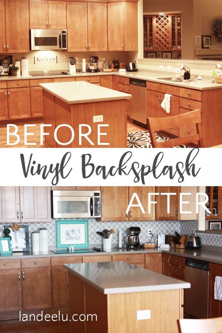 Best 25 vinyl backsplash ideas on pinterest vinyl tile easy vinyl backsplash for the kitchen amipublicfo Gallery