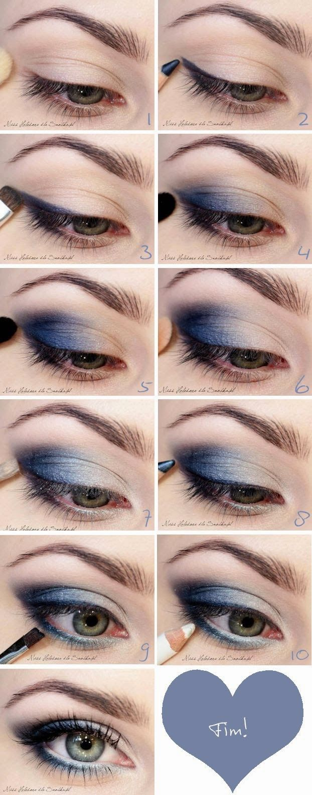 Maquillaje sombras azules