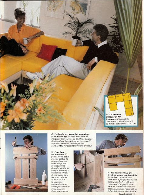 DIY vintage, couture, tricot, loisirs créatifs, années 70: DIY salon modulable, banquette, méridienne, tapisserie