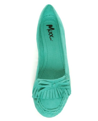 i already own three pairs of teal flats...but these-THESE- i need.Flats But These Thes, Mint Moccasins, Kilty Moccasins, Mixxed Pennies, Green Vegan, Sea Green, Moccasins Flats, Teal Shoese I, Pennies Sea
