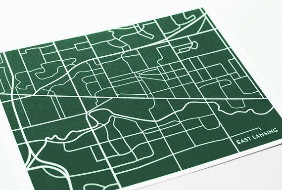 East Lansing City Map Poster / Michigan State University Map Art Print Grad Gift / 8x10 Dorm Decor / Choose your color