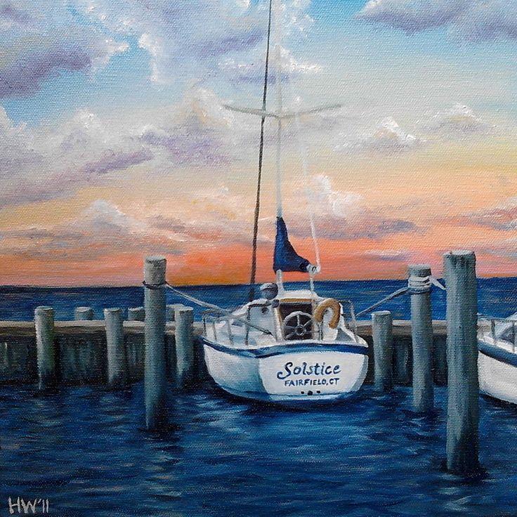 sail boat painting | nautical sailboat oil painting ocean art boat seascape sunset fishing ...