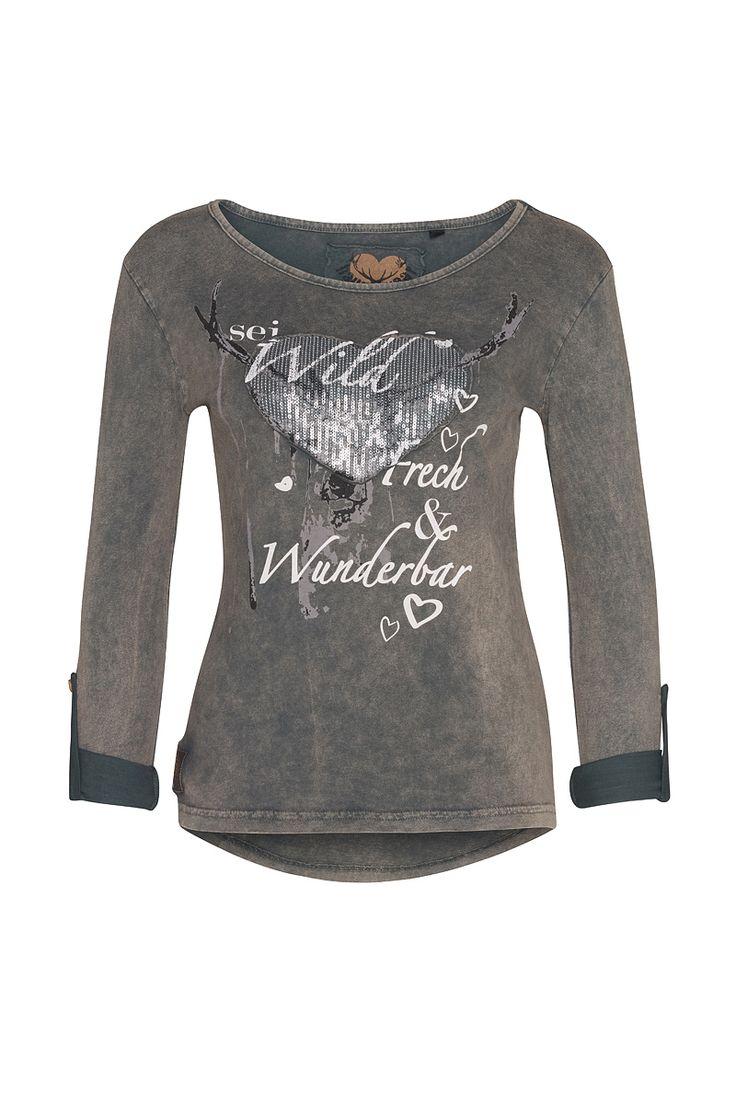 Freches Shirt mit wunderbaren Hirsch-Herz-Print und wilder graumellierung. Rundhals-Ausschnitt langärmlig, mit Armriegel Herzapplikation aus kleinen Pailletten Rücken länger geschnitten