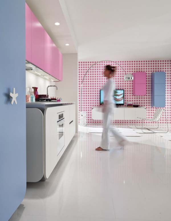 Kitchen:IT IS Kitchen Pink Wall Cabinet Simple Kitchenette Island Motif  Wall Television Floor Lamp