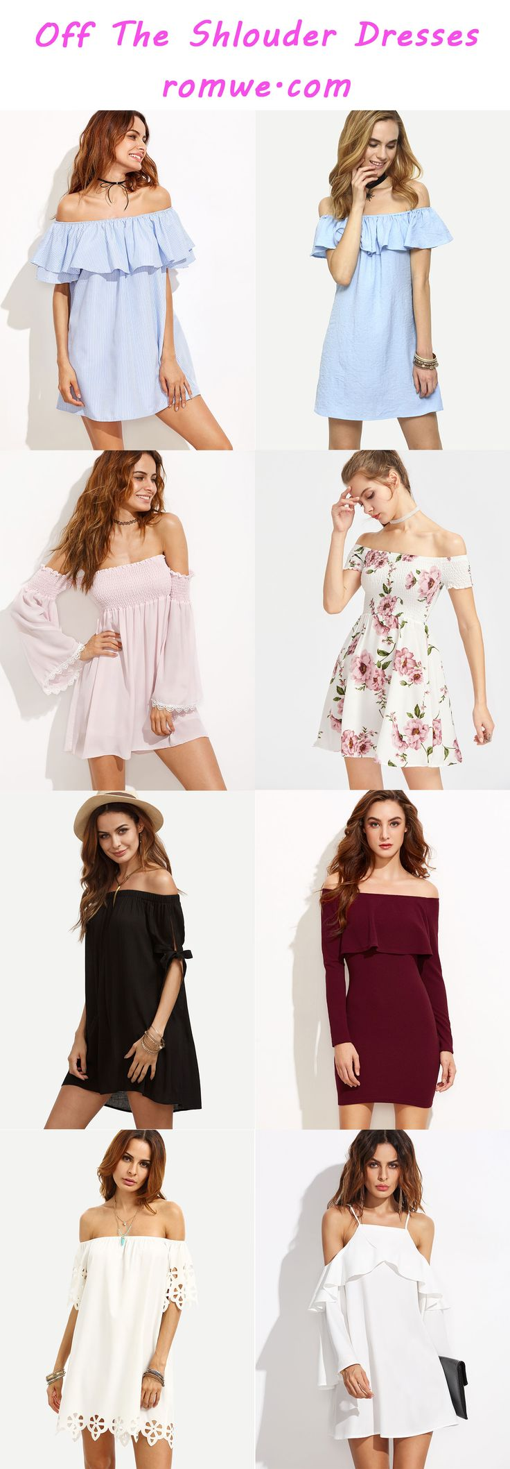 Off the Shoulder Dresses Collection 2017 - romwe.com
