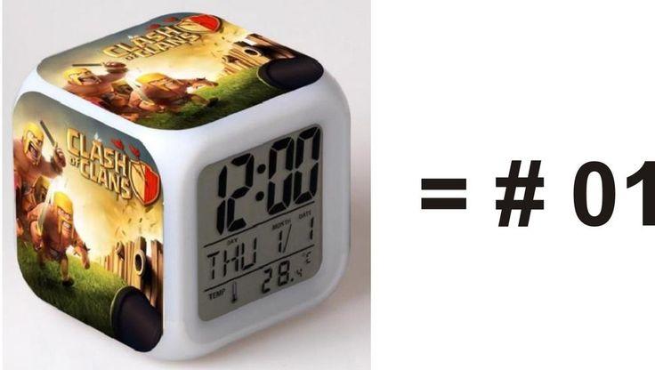 Clash of Clans Desk Clock Digital Alarm LED 7 Multi Color Flash Clocks Watches #Unbranded