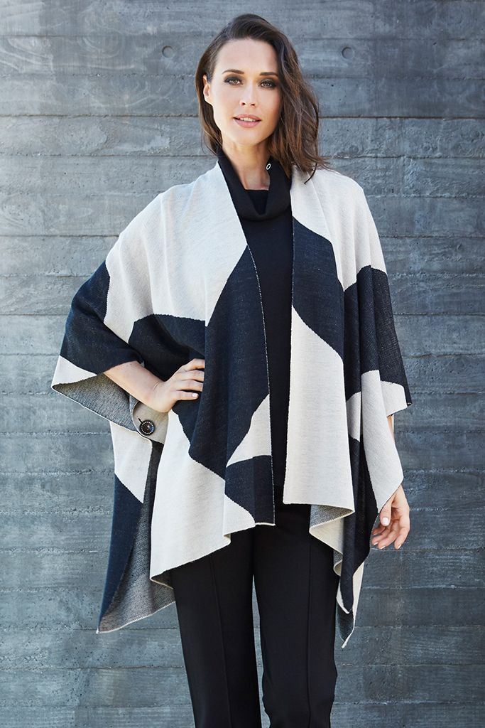 PONCHO WRAP Wraps are a key layering piece this season so embrace the trend with this effortless style. This lightweight wrap is best worn over simple separates & features a longline fit & button fastening on the sleeves.