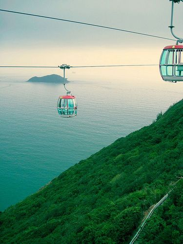 The view from the cable car, Ocean Park amusement park, Hong Kong, 2010, photograph by Janet Lover.