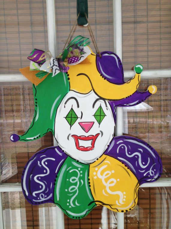 New Orleans, Mardi Gras Jester Face! What a happy, welcoming addition to your entrance during the carnival season! He is approx. 17 x 20.