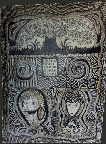 Stylo bille sur toile, 2012 par Frances Matemma Dallocchio, née en France en 1961