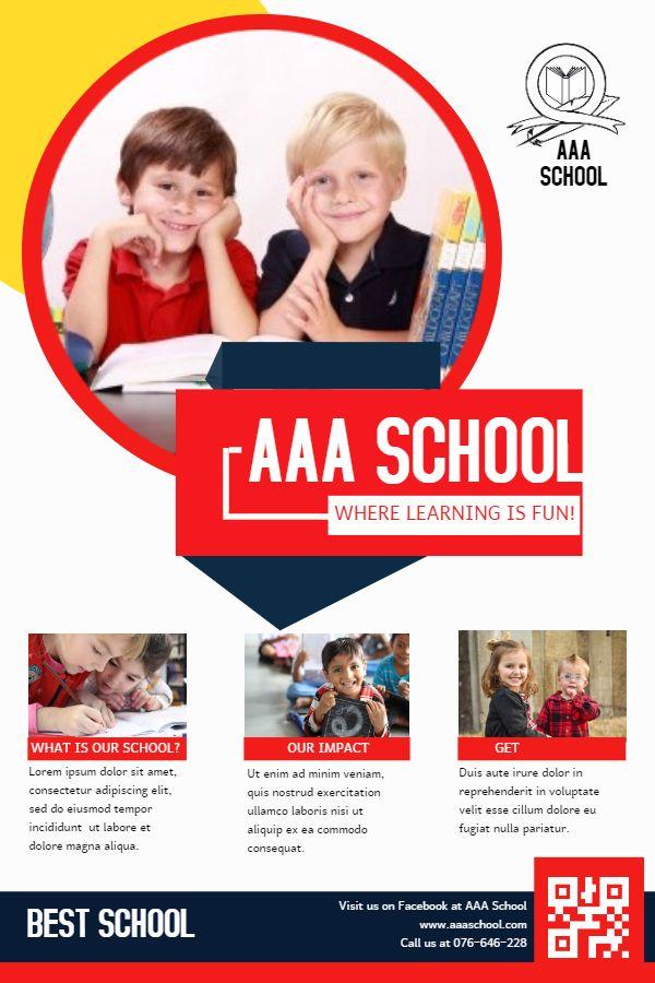 School advertisement leaflet design template School Admission