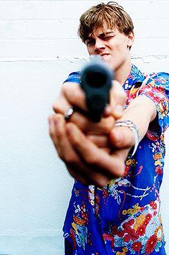 "Leonardo DiCaprio ""Romeo + Juliet"" photoshoot - pointing the gun"