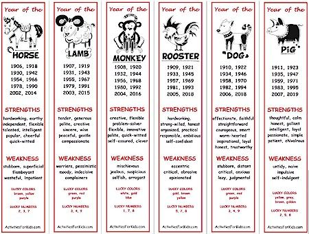Chinese New Year zodiac bookmarks